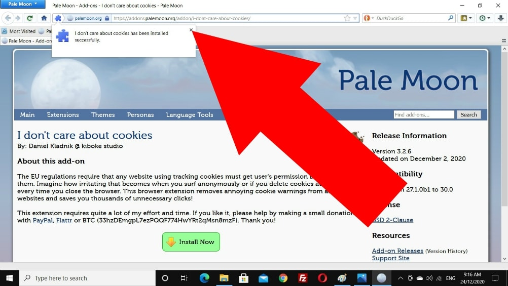 how to get rid of cookie pop ups on pale moon