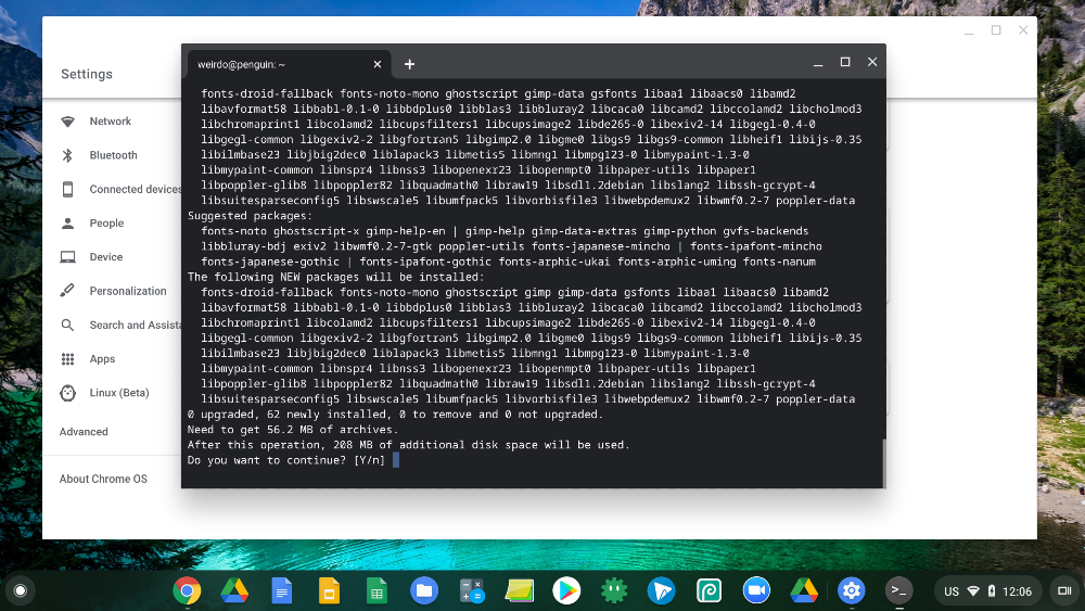 how to download linux on chromebook