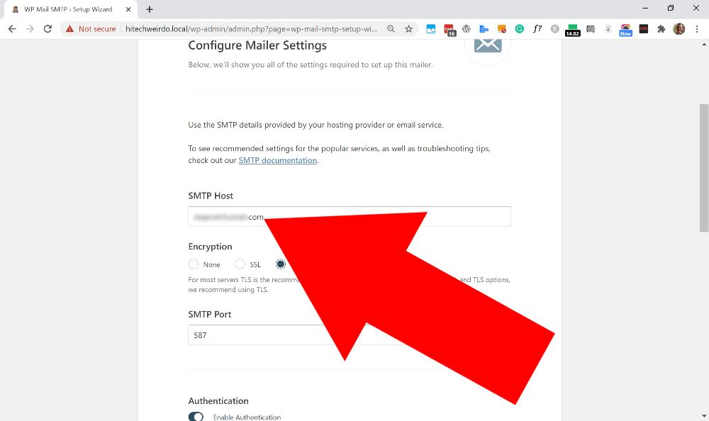 wordpress smtp settings