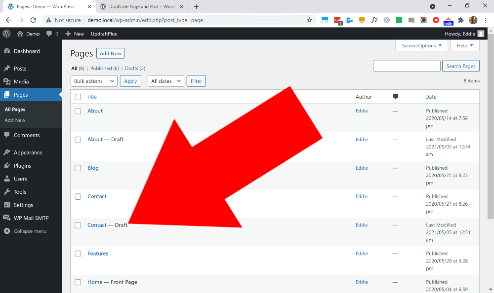 how do i duplicate a page in wordpress